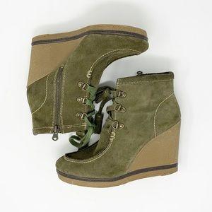 MIA 'Hazel' Green Suede Tassel Ankle Boots Sz 8.5